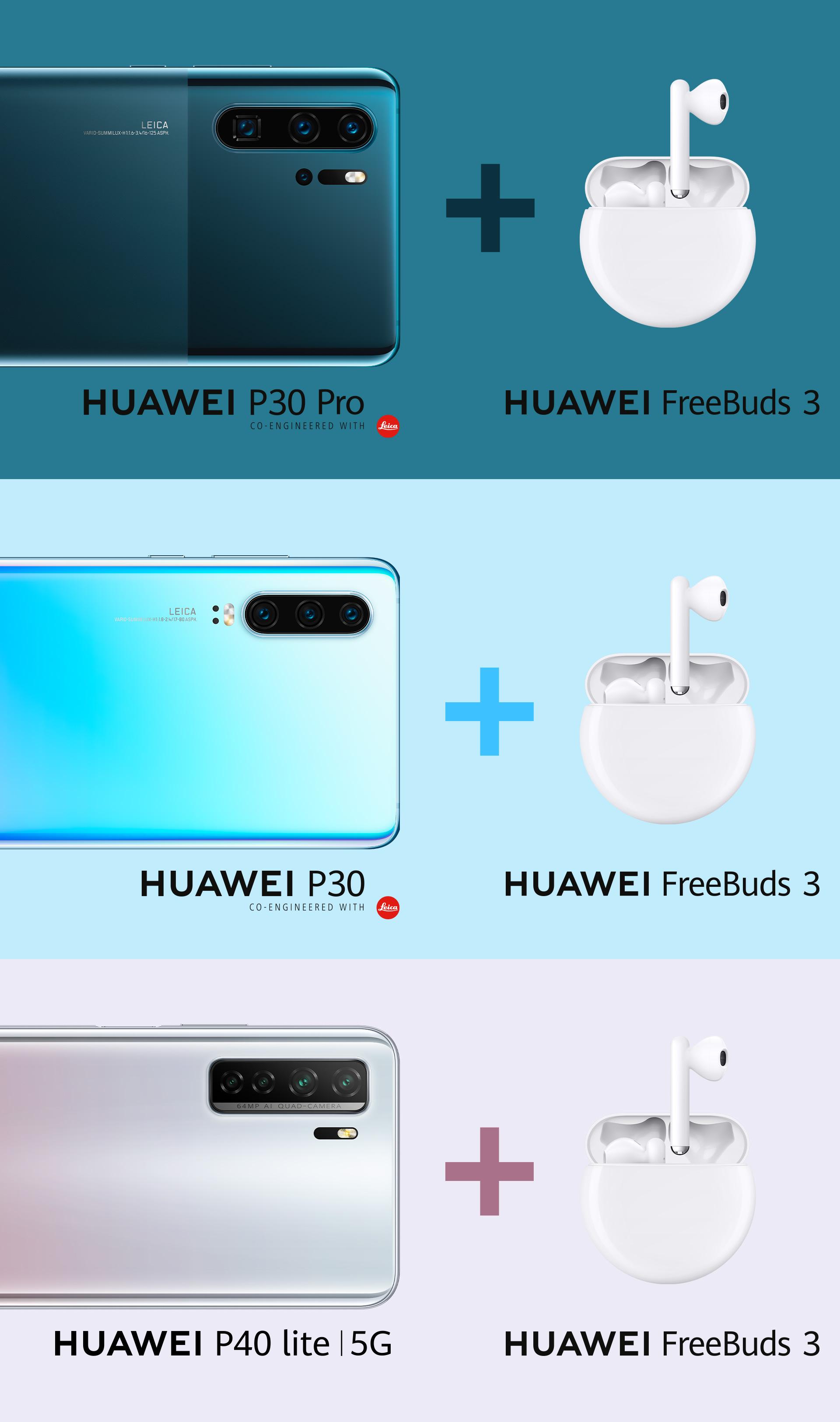 HUAWEI P30 Pro mit FreeBuds 3 und HUAWEI P30 mit FreeBuds 3 und HUAWEI P40 lite 5G mit FreeBuds 3