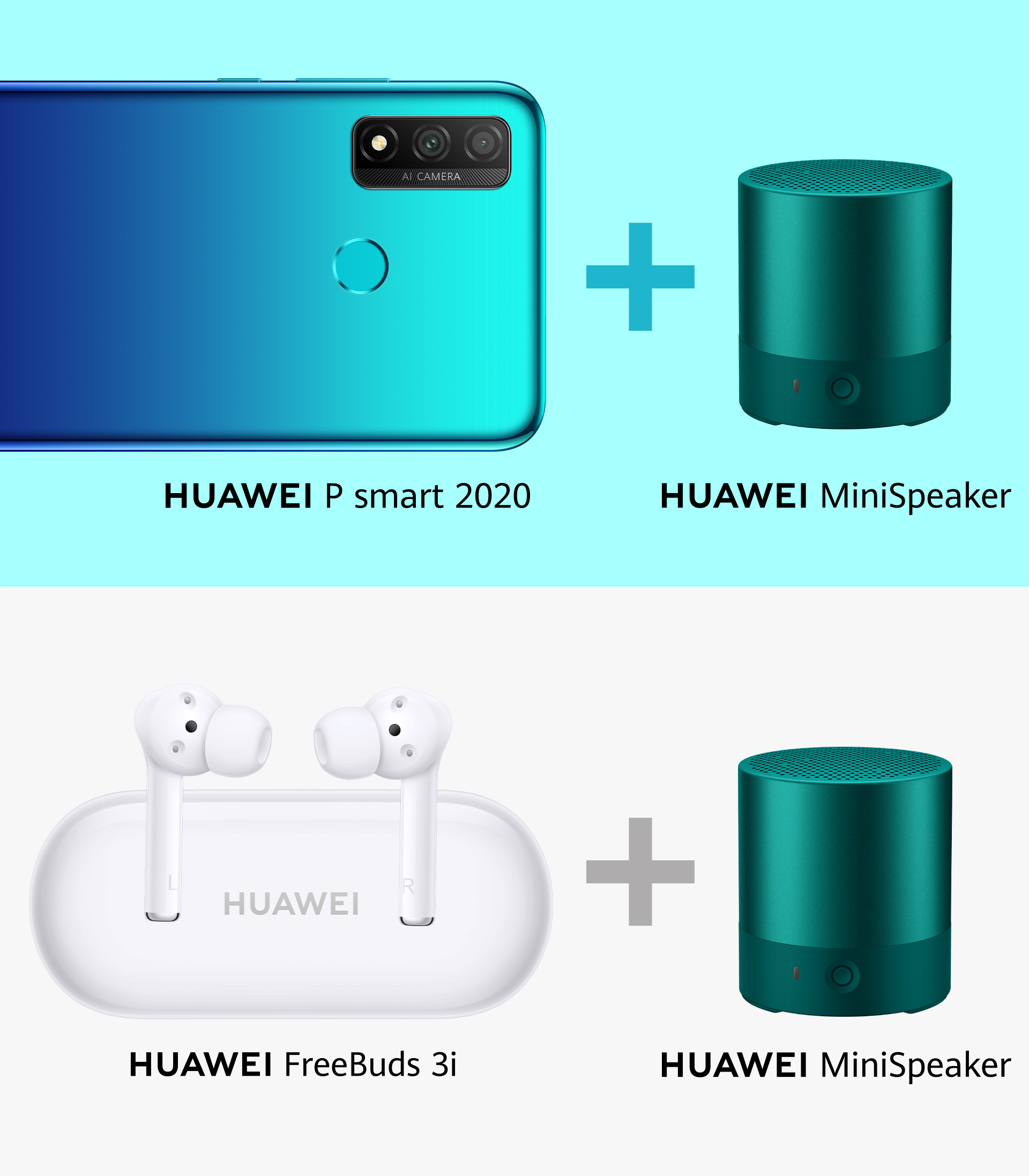 HUAWEI P smart 2020 mit Mini Speaker und HUAWEI FreeBuds 3i mit Mini Speaker