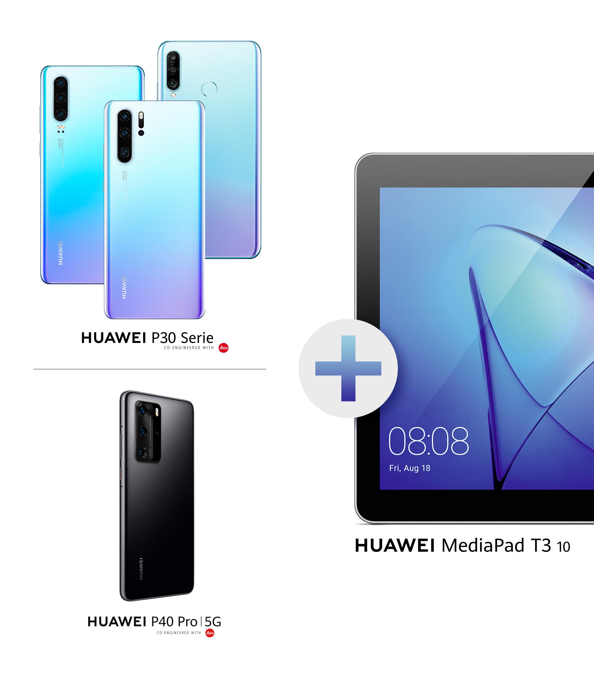 HUAWEI P30 Pro mit MediaPad T3 10 und Tablet Case