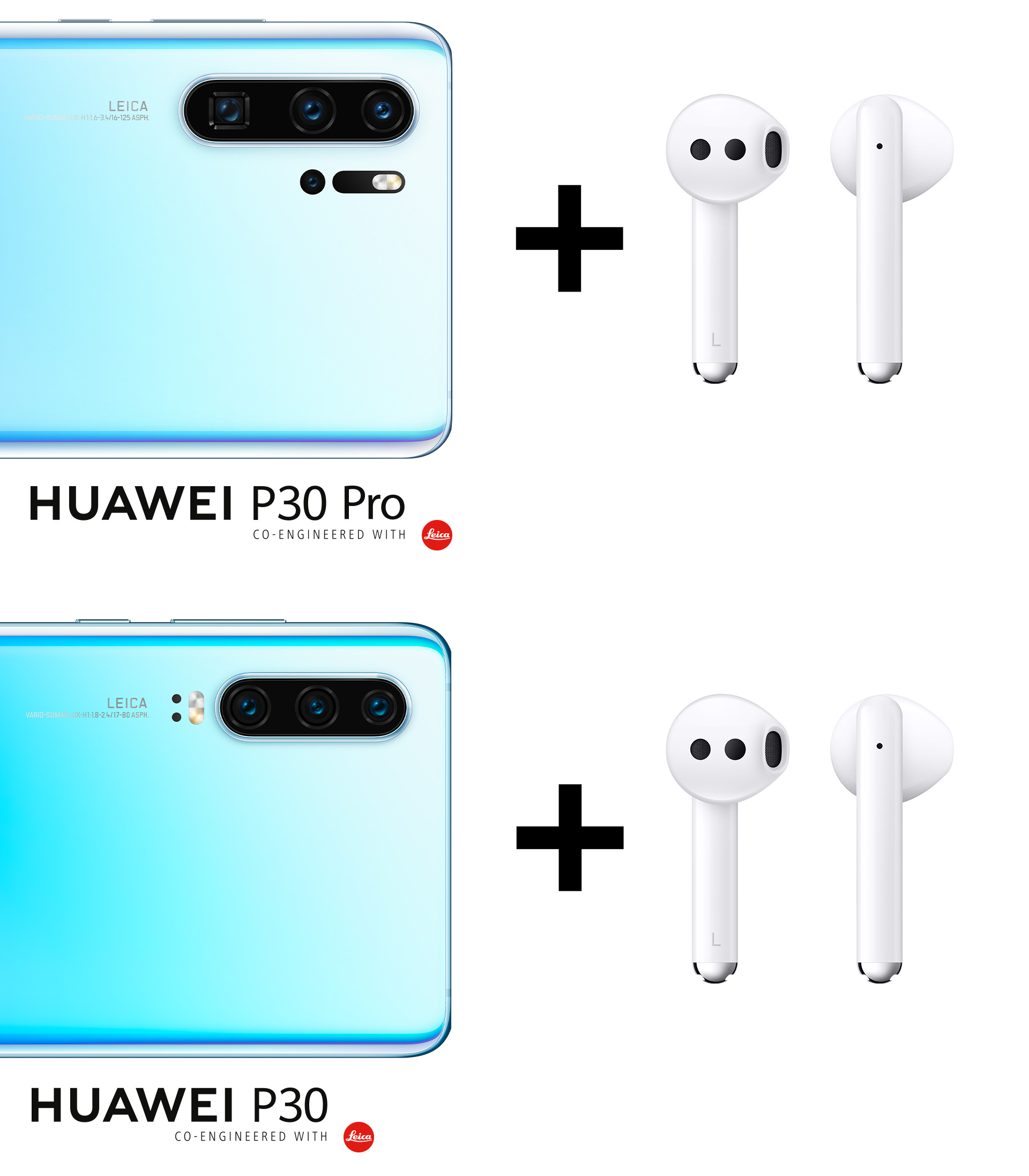 HUAWEI P30 Pro und HUAWEI P30 mit HUAWEI FreeBuds 3