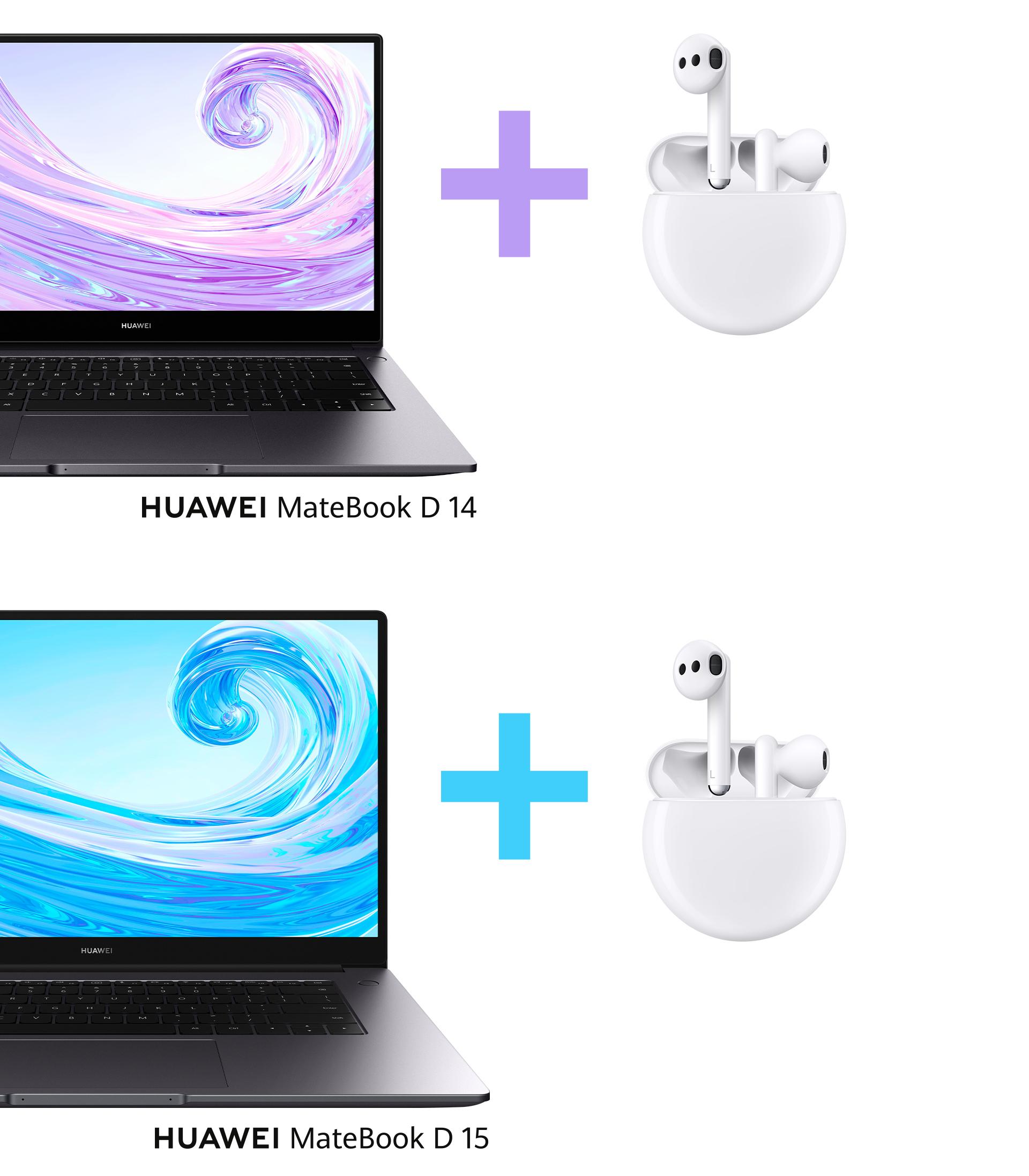 HUAWEI MateBook D 14 und HUAWEI MateBook D 15 mit HUAWEI FreeBuds 3