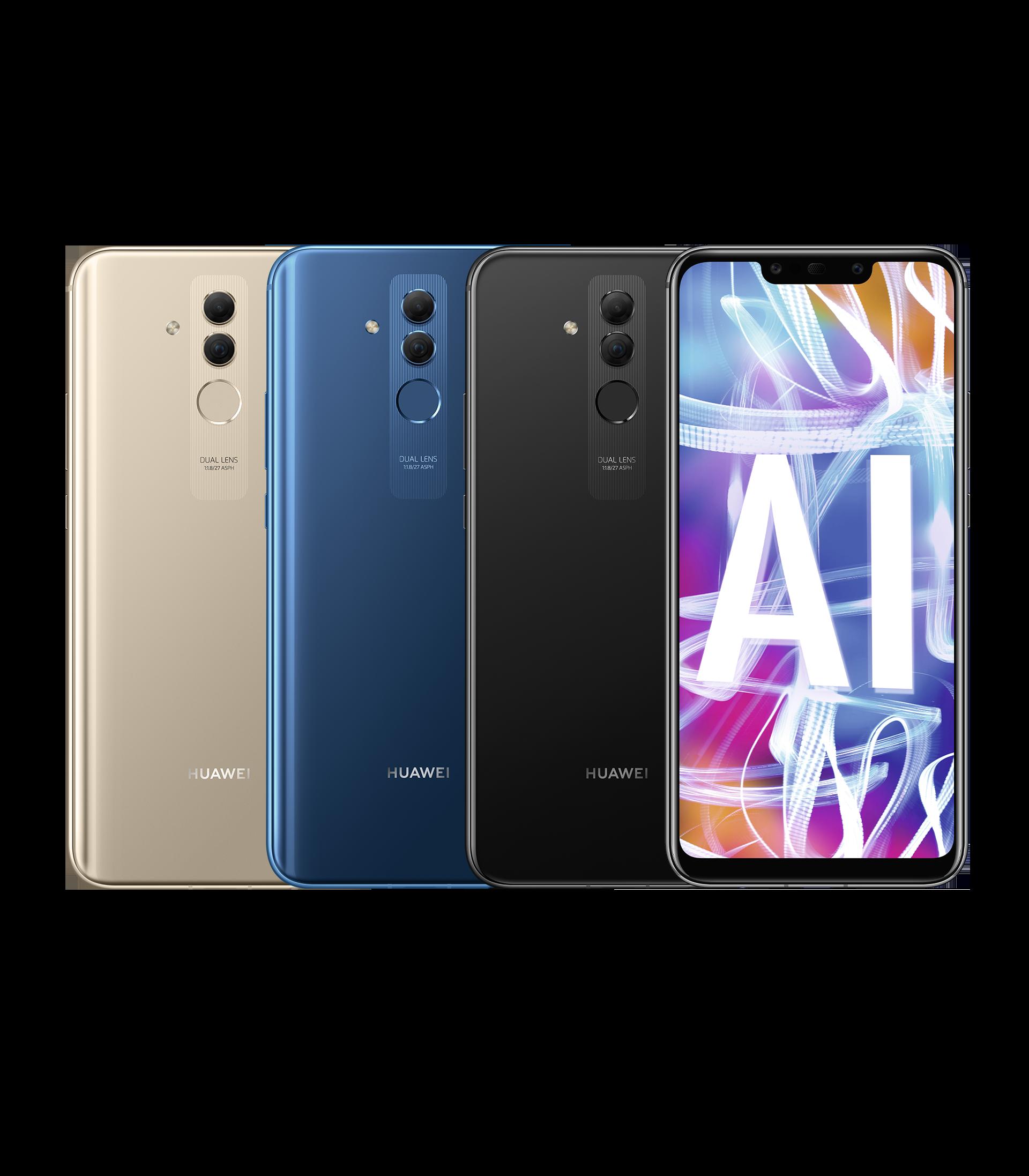 """HUAWEI Mate20 lite Smartphone in den Farben Platingold, Saphirblau und Schwarz mit Dual-Frontkamera und 6,3"""" FHD+ FullView Display, Handy Vorder- und Rückseiten"""