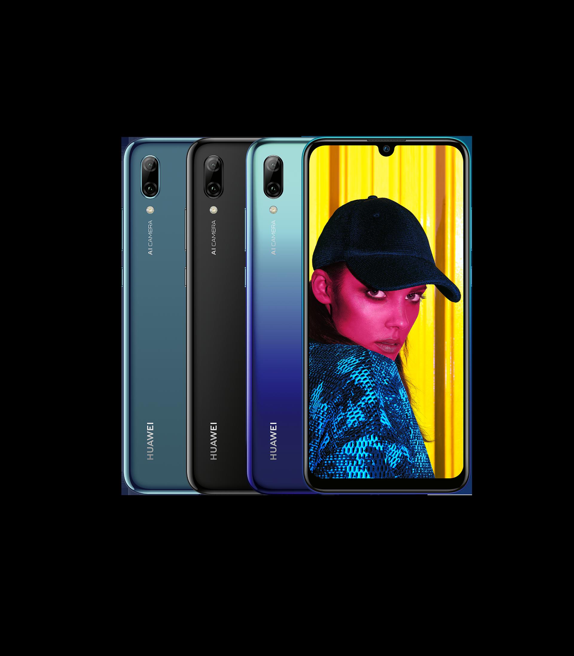 """HUAWEI P smart 2019 Smartphone in den Farben Sapphire Blue, Midnight Black Aurora Blue mit 6,21"""" FullView Display in Dewdrop-Design, Handy Vorder- und Rückseiten"""